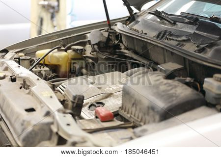 car engine compartment close up