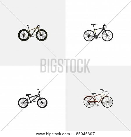 Realistic Extreme Biking, Hybrid Velocipede, Journey Bike And Other Vector Elements. Set Of Lifestyle Realistic Symbols Also Includes Bmx, Bike, Hybrid Objects.