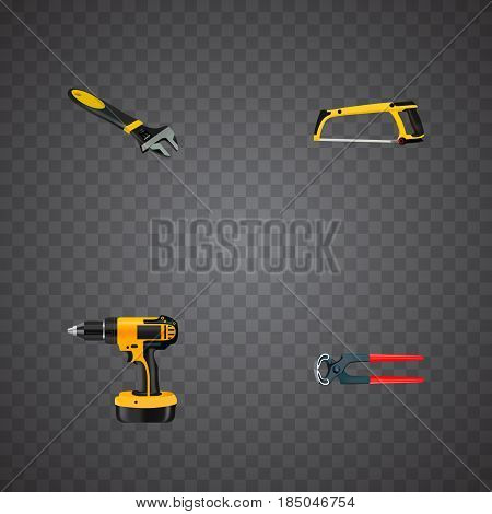 Realistic Arm-Saw, Tongs, Wrench And Other Vector Elements. Set Of Instruments Realistic Symbols Also Includes Saw, Electric Screwdriver, Tool Objects.