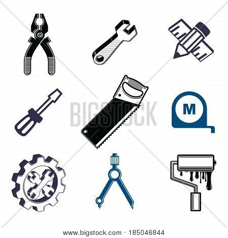 Set of 3d detailed tools repair theme stylized vector graphic elements isolated on white. Collection of classic work tools industry icons.
