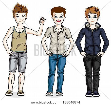 Cute Little Boys Children Standing Wearing Different Casual Clothes. Vector Kids Illustrations Set.
