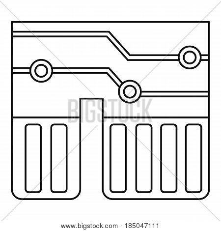 Computer chipset icon in outline style isolated vector illustration