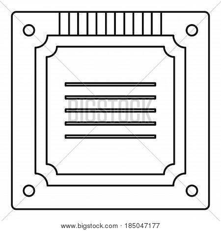 Modern multicore CPU icon in outline style isolated vector illustration