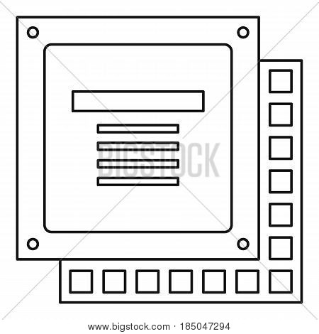 Computer CPU processor chip icon in outline style isolated vector illustration