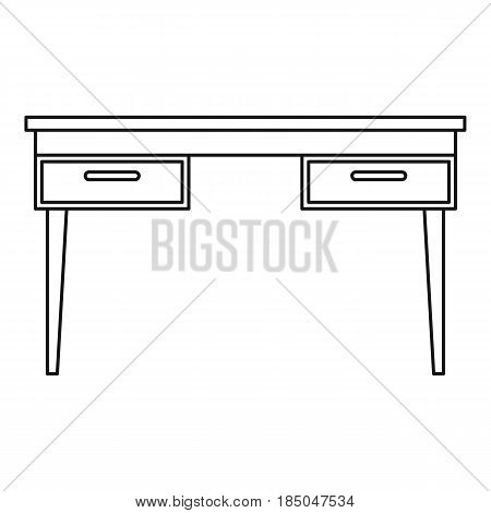 Wooden table icon in outline style isolated vector illustration