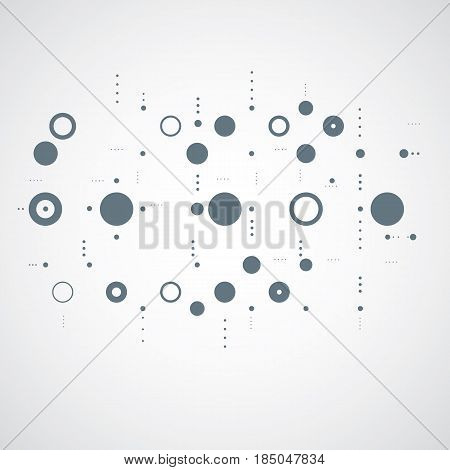 Modular Bauhaus gray vector background created from simple geometric figures like circles and lines. Best for use as advertising poster or banner design.