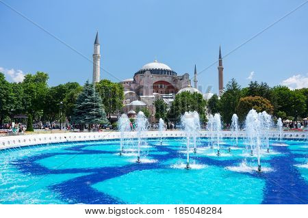 ISTANBUL TURKEY - JUNE 20 2015: Ayasofia was a Greek Orthodox Christian patriarchal basilica (church) later an imperial mosque and now a museum in Istanbul Turkey