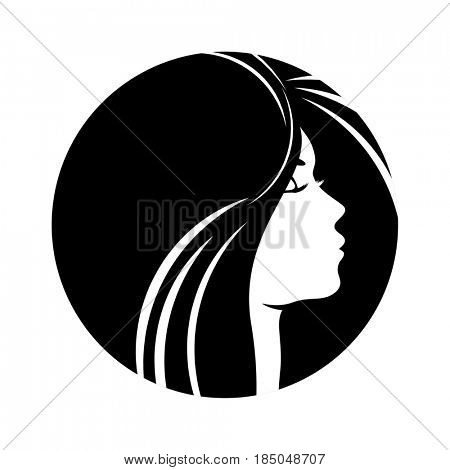Beautiful woman profile silhouettes with elegant hairstyle, young female face design, beauty girl head with styled hair, fashion lady graphic portrait.