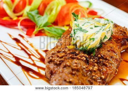 Rustic Grilled Beefsteak With French Cheese