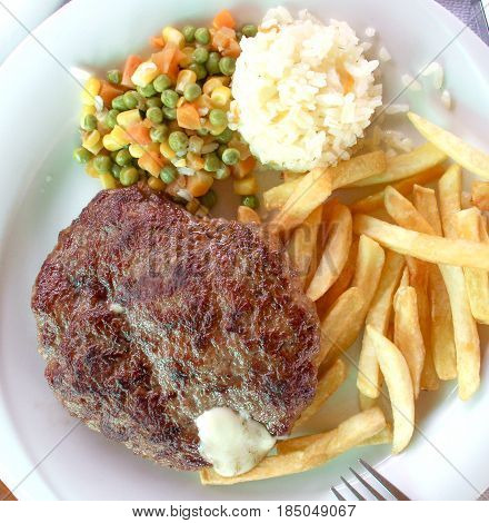 Beef or meat barbecue burger in a plate, image a