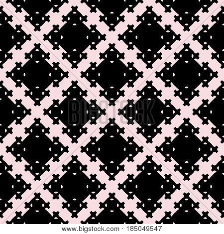 Vector seamless texture, abstract geometric pattern with square figures, crosses, diagonal grid. Monochrome illustration, repeat tiles. Design element for tileable print, decor, textile, furniture