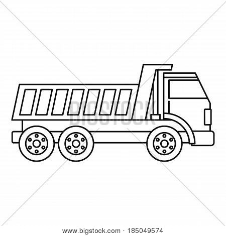 Dumper truck icon in outline style isolated vector illustration