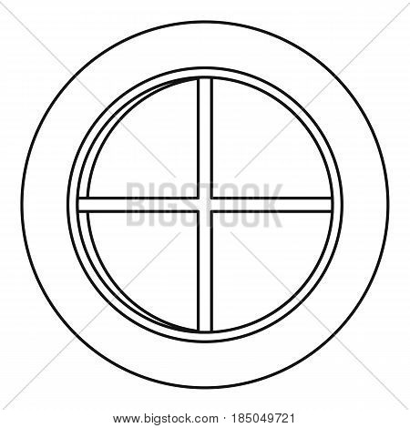 White round window icon in outline style isolated vector illustration