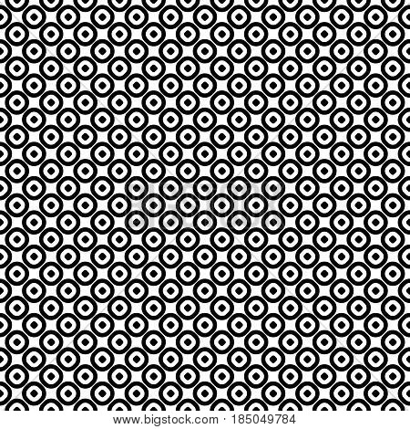 Vector seamless pattern, monochrome polka dot texture. Simple geometric background with staggered perforated circles. Black & white abstract design for decor, textile, furniture, prints, digital, web