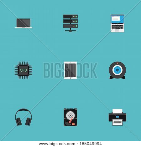 Flat Web Cam, Palmtop, Datacenter And Other Vector Elements. Set Of PC Flat Symbols Also Includes Broadcast, Datacenter, Database Objects.