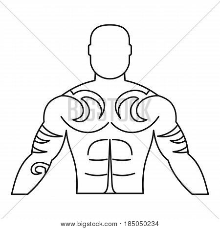 Muscular man with tattoo icon in outline style isolated vector illustration