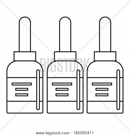 Three tattoo ink bottles icon in outline style isolated vector illustration