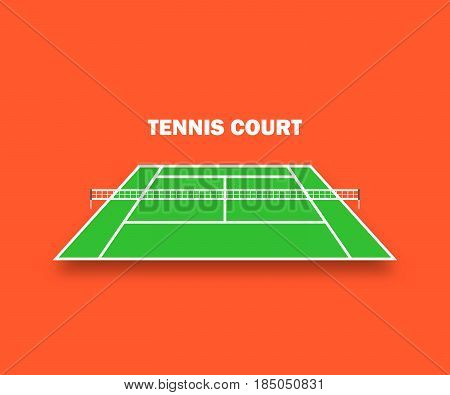 Tennis Court, And With Shadow. Vector Illustration