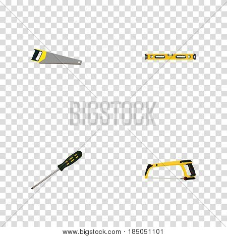 Realistic Arm-Saw, Hacksaw, Carpenter And Other Vector Elements. Set Of Instruments Realistic Symbols Also Includes Sawmill, Arm, Tool Objects.