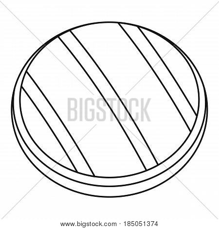 Grilled round beef steak icon in outline style isolated vector illustration
