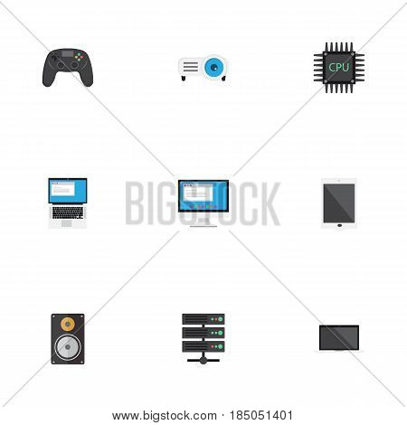 Flat Presentation, Joystick, Monitor And Other Vector Elements. Set Of Notebook Flat Symbols Also Includes Cpu, Motherboard, Display Objects.