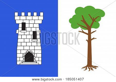 Flag of La Tour-du-Pin is a commune in the Isere department in southeastern France. Vector illustration