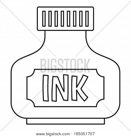 Black ink bottle icon in outline style isolated vector illustration