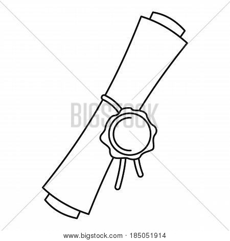 Old rolled paper with a red wax seal icon in outline style isolated vector illustration