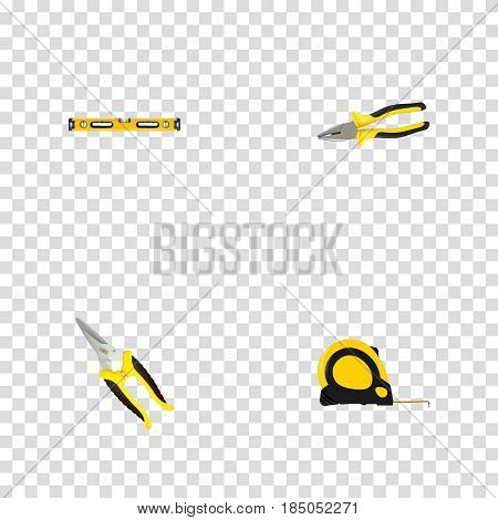 Realistic Length Roulette, Pliers, Scissors And Other Vector Elements. Set Of Kit Realistic Symbols Also Includes Roller, Tongs, Level Objects.