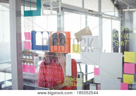 Businesswoman seen through adhesive notes on glass in office