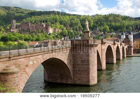 City of Heidelberg (Germany) - view over the old town of Heidelberg including the castle and the old bridge