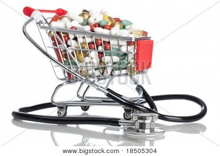 Shopping Cart full with pills