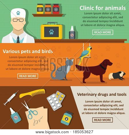 Vet clinic care banner horizontal concept set. Flat illustration of 3 vet clinic care vector banner horizontal concepts for web