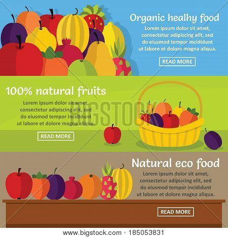 Fruits organic banner horizontal concept set. Flat illustration of 3 fruits organic vector banner horizontal concepts for web