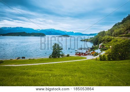 Beautiful Nature Hardangerfjord landscape summer rain Norway