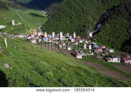 Adishi village view in Caucasus mountains in Georgia