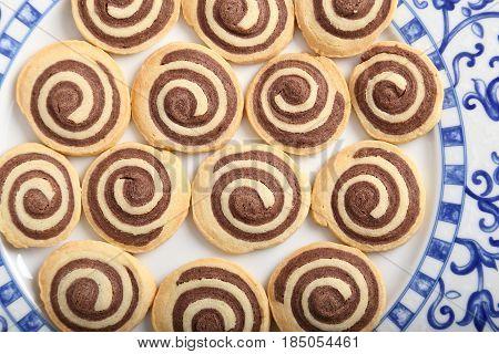 Freshly baked sweet homemade rolls with chocolate.