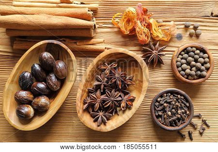 Aromatic spices in brown. Cooking ingradients and natural food additives.