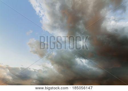stormy skies of spring / vivid landscape spring sky before the rain
