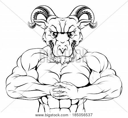 A tough muscular ram mascot character getting ready for a fight
