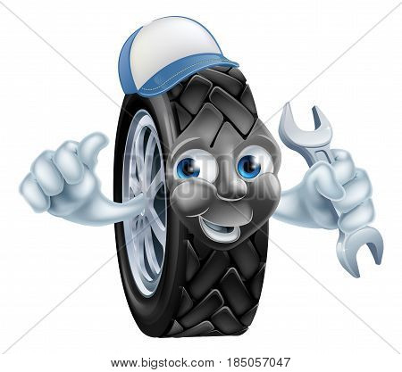 Tyre mechanic cartoon mascot wearing a cap and holding a spanner