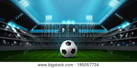 soccer football stadium spotlight and ball background with glitter light vector