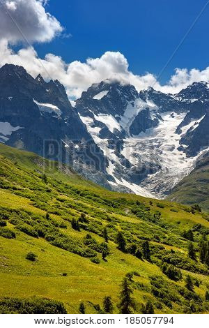 Ecrins National Parc mountain peaks and glaciers in summer. La Meije glacier Glacier du Lautaret and Glacier de l'Homme. Southern French Alps Hautes-Alpes. France
