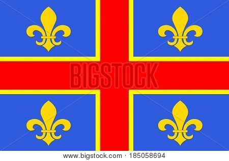 Flag of Clermont-Ferrand is the prefecture (capital) of the Puy-de-Dome department and commune of France. Vector illustration