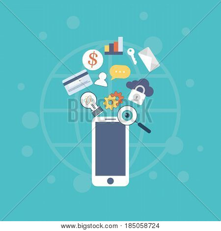 Vector illustration of icons set of mobile technology and internet capabilities. Modern vector pictogram collection concept