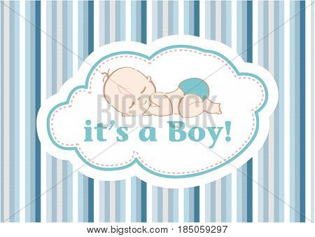 It's a Boy!, beautiful card to celebrate the new family member. In a pastel blue line background!
