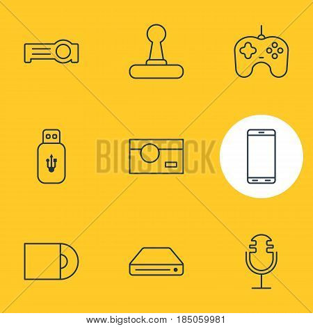 Vector Illustration Of 9 Technology Icons. Editable Pack Of Joypad, Sound Recording, Usb Card And Other Elements.