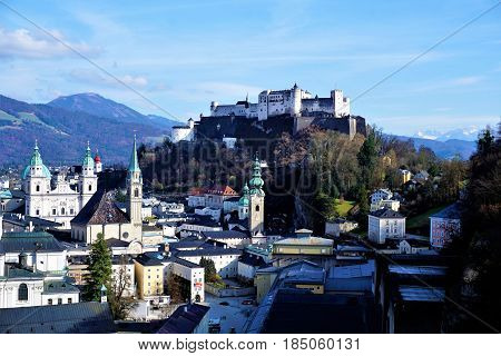 Panoramic view over the city of Salzburg to fortress Hohensalzburg
