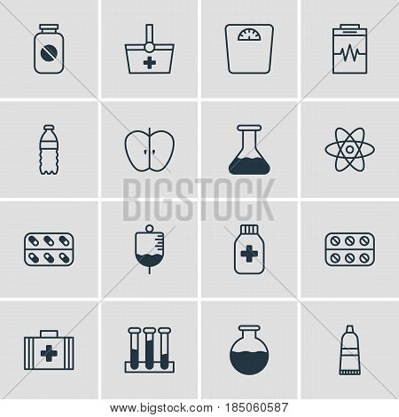 Vector Illustration Of 16 Medical Icons. Editable Pack Of Vial, Plastic Bottle, Antibody And Other Elements.