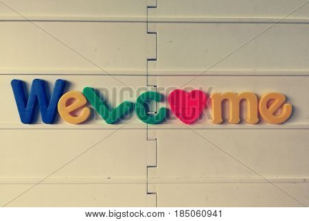 Welcome word made of colorful alphabets